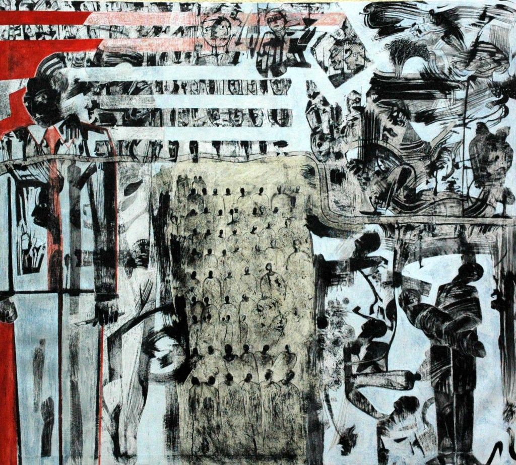 Hieroglyphics for the 21st Century oil and Indian ink on gesso on canvas. 190cm x 170cm 2017