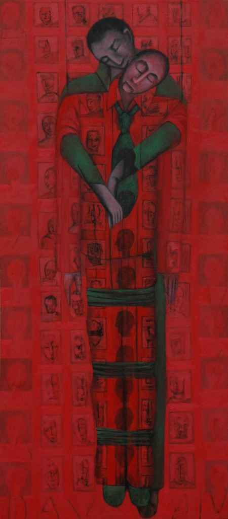 Interpreter by Ricky Romain ( 2013 oil on canvas. 165cm x 65cm. Private Collection.)