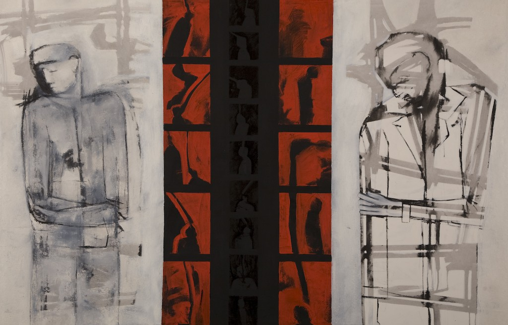 Passing Resemblance in the midst of conflict. by Ricky Romain. (2007 oil and Indian ink on canvas 165cm x 107cm £2500)