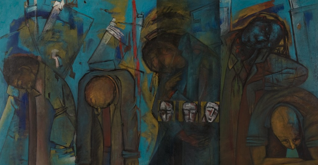 Visas and Borderlines by Ricky Romain. (2004/5 oil on canvas 166cm x 89cm £2500)