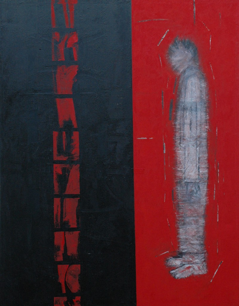 Newsreel Series 'Shattered' by Ricky Romain. (oil on canvas. 155cm x 110cm 2007)