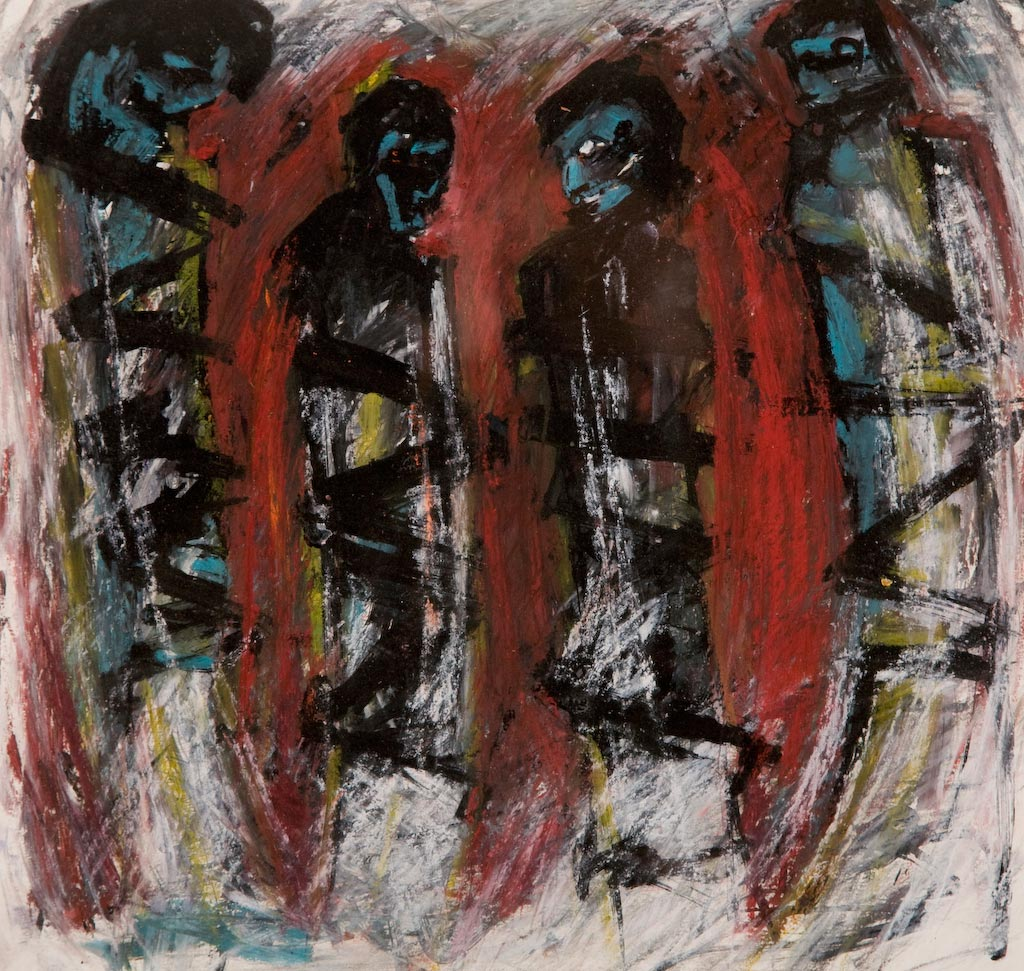 Souls on Fire, by Ricky Romain (2006, pastel on paper, private collection).