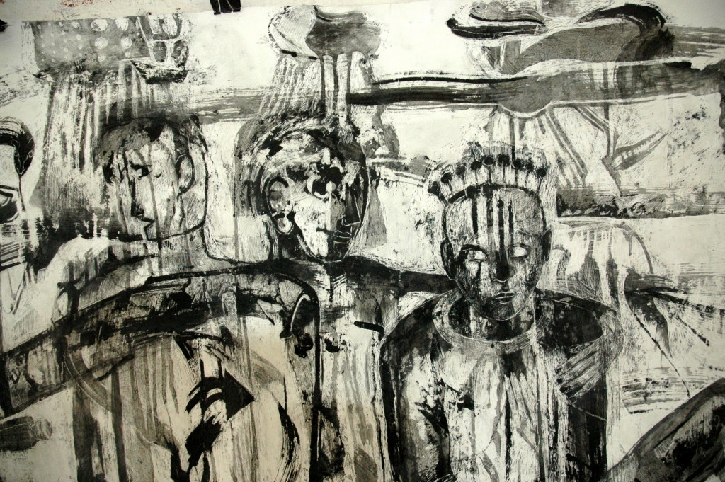 detail Traffic and Traffickers by Ricky Romain. (Indian ink on gesso on unstreched canvas. 160cm x 136cm. 2017