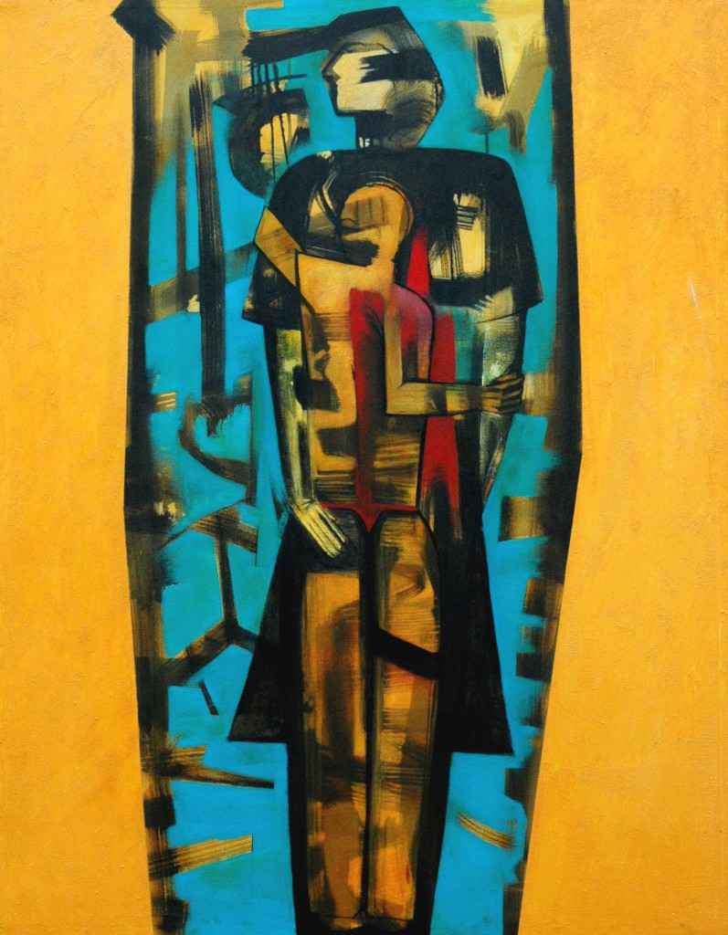 Mother and Son by Ricky Romain (2006/12 oil and Indian ink on canvas 155cm x 120cm £3000