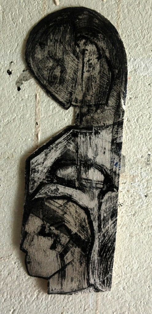 Cut out 2 by Ricky Romain Indian ink on Gesso on canvas 2014