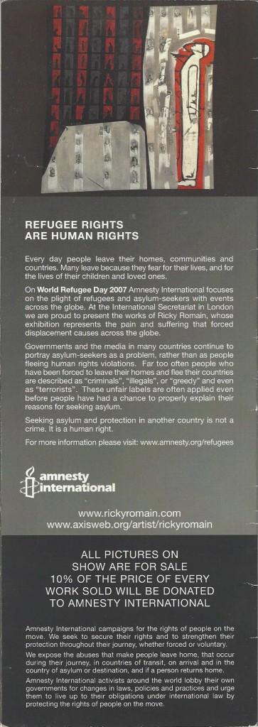 Amnesty 2007 exhibition. world Refugee day 2007 'Nurturing Hope Seeking Common Ground. 20th June 2007-20th July 2007