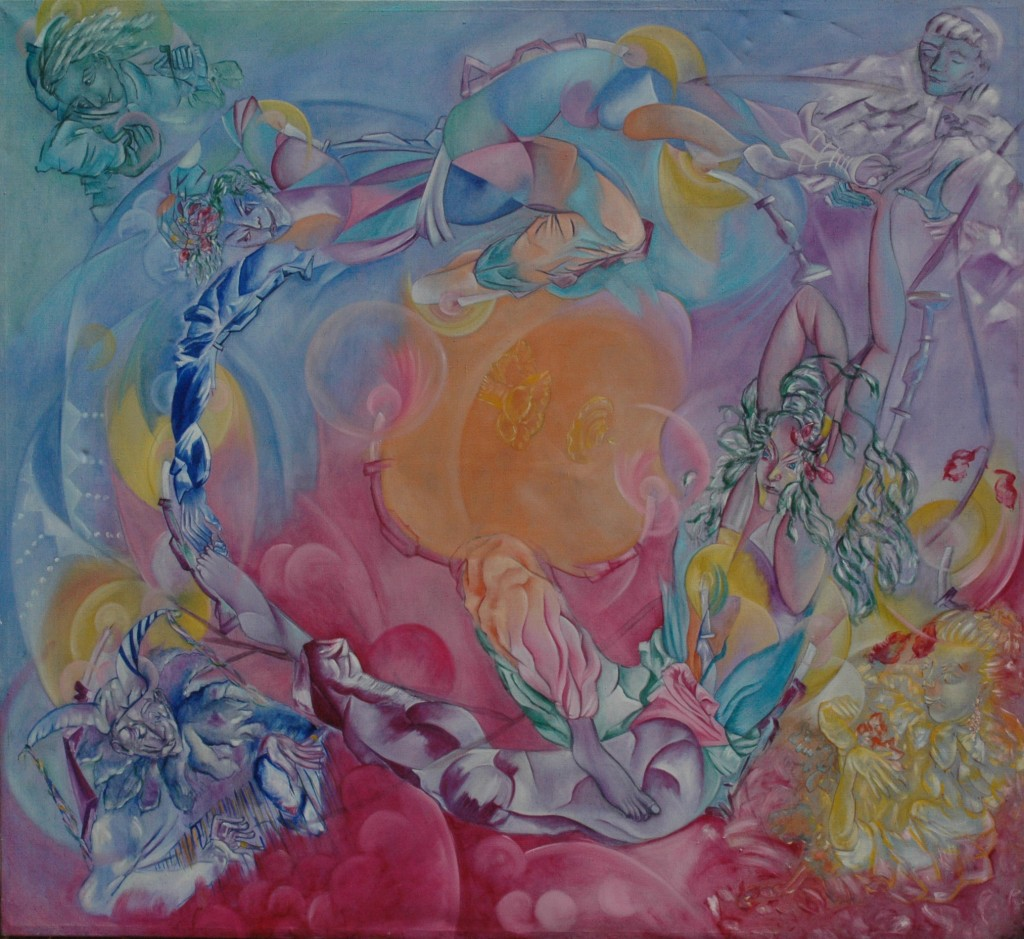 Dance Around Each Other by Ricky Romain. oil on Canvas 180cm x180cm 1994