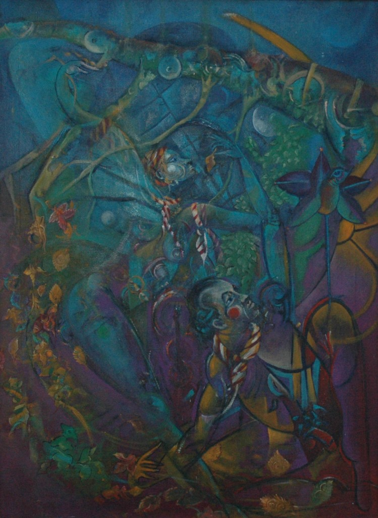 Restless moonlight and Broken Patterns by Ricky Romain. oil on canvas . 60cm x 40cm 1992 (private collection.