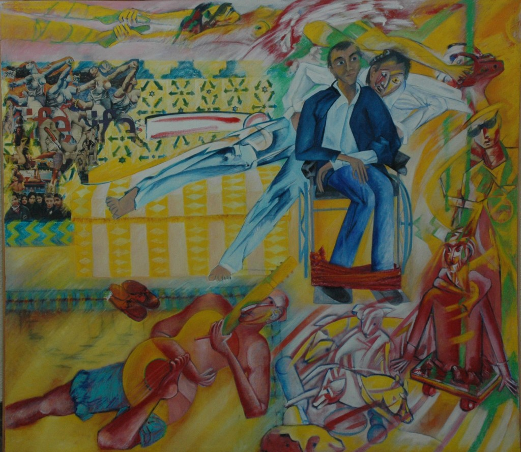 Me and Steve in Seville by Ricky Romain. oil and collage on canvas 1991/2 180cm x 150cm.