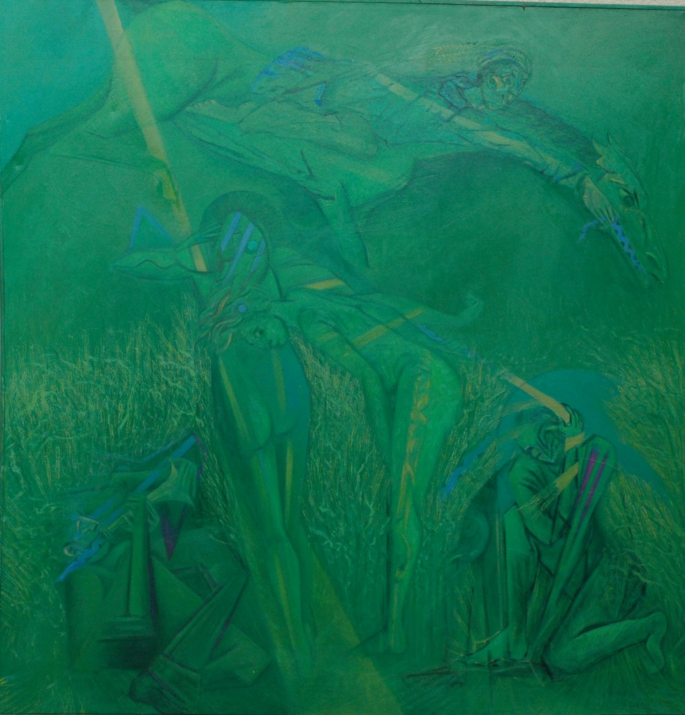 The Corn Horse Dancers by Ricky Romain. oil on canvas. 240cm x 230cm 1994