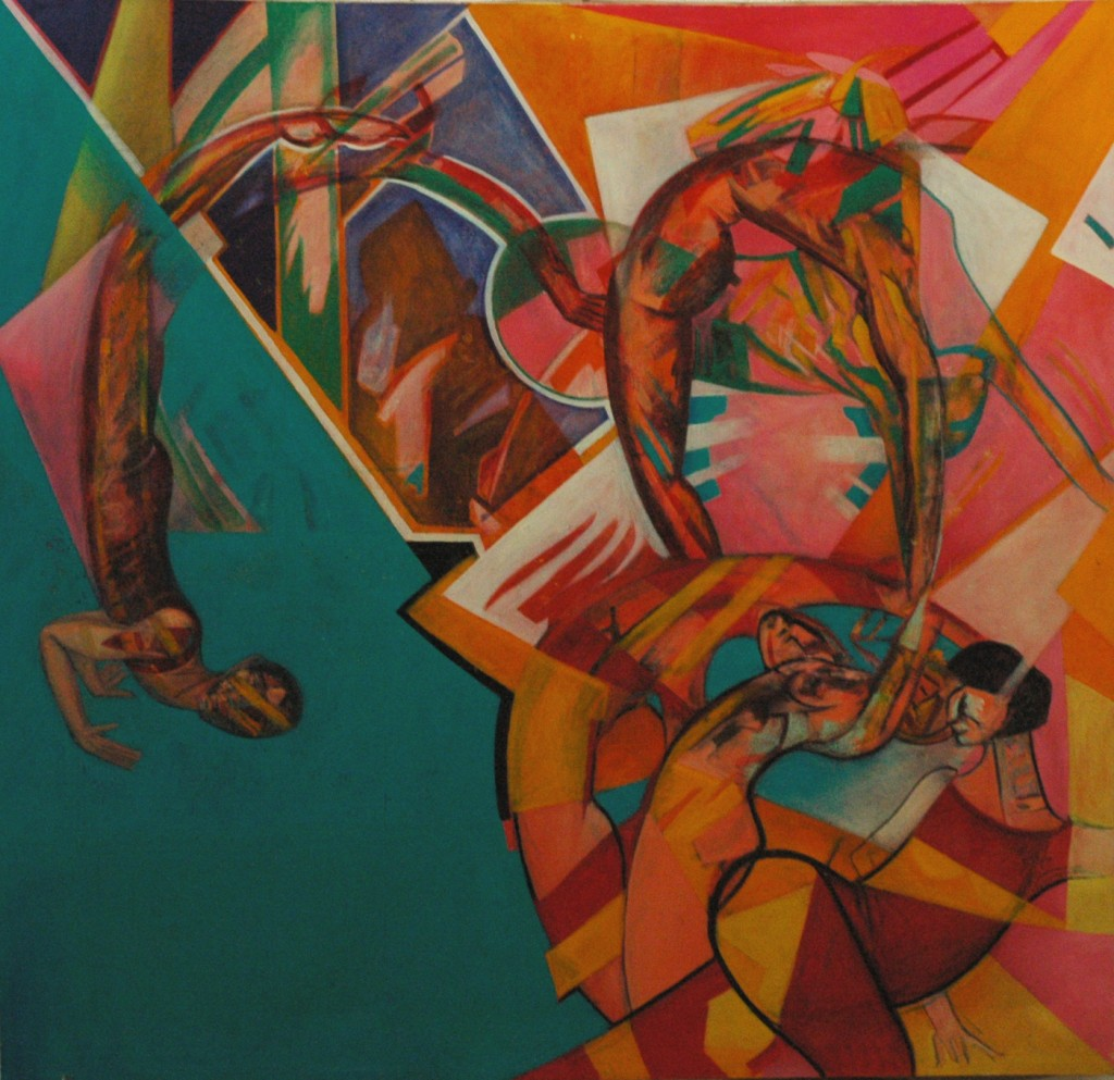Moving into new Space by Ricky Romain oil on canvas. 190cm x180cm 1996/97