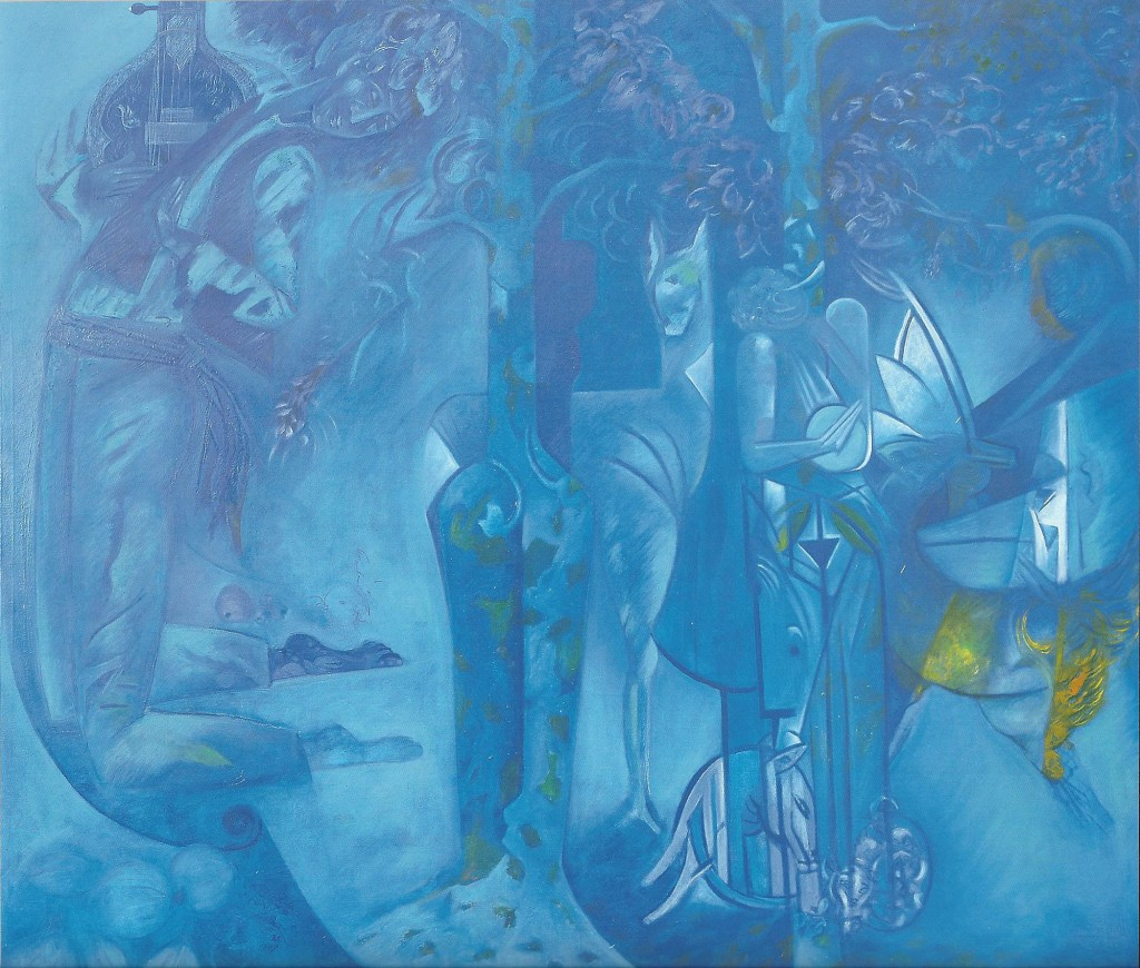 Flooded in Blue by Ricky Romain. oil on canvas 200cm x180cm 1995/97